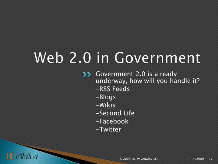 Web 2.0 in Government