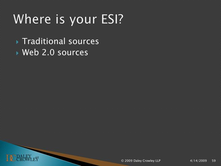 Where is your ESI?