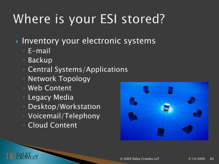 Where is your ESI stored?