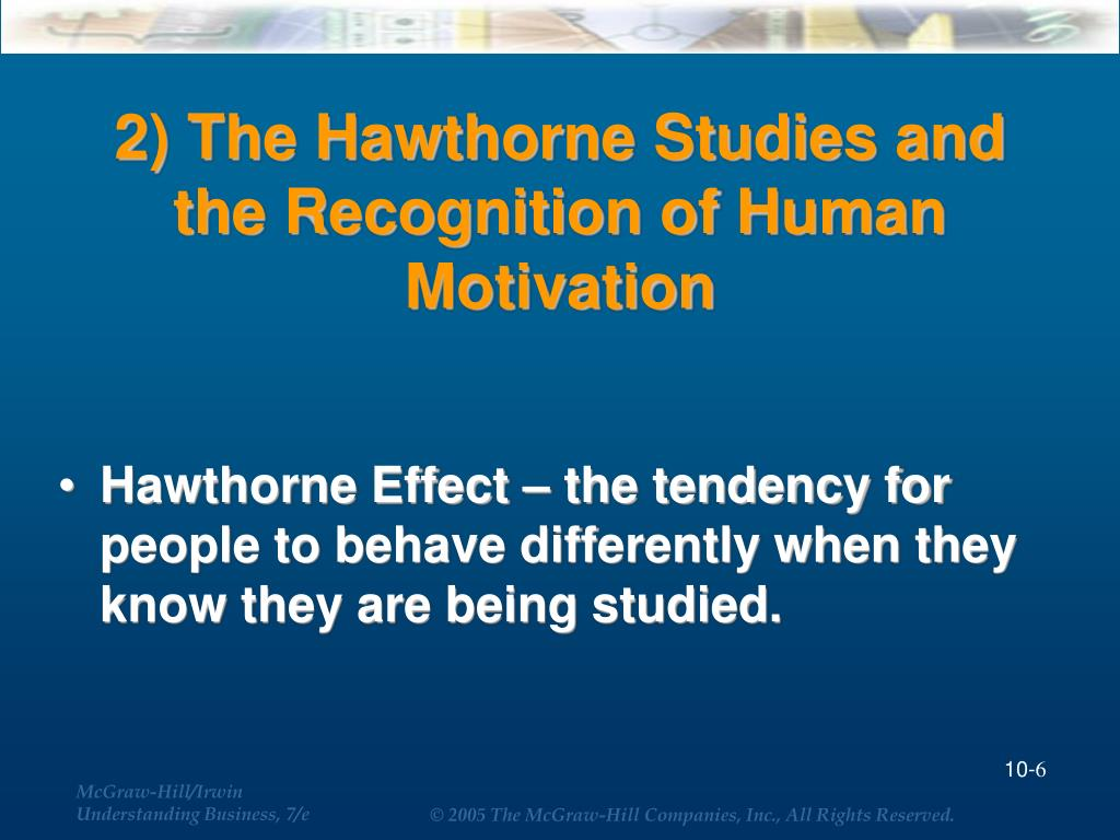 2) The Hawthorne Studies and the Recognition of Human Motivation
