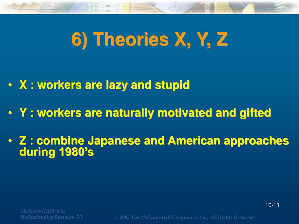 6) Theories X, Y, Z