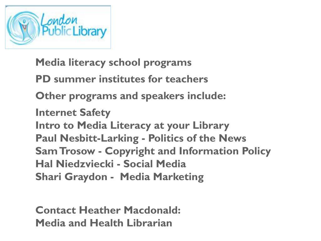 Media literacy school programs
