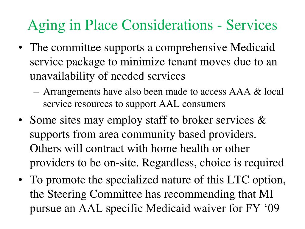 Aging in Place Considerations - Services