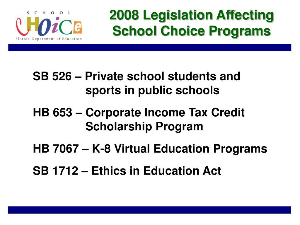 2008 Legislation Affecting School Choice Programs