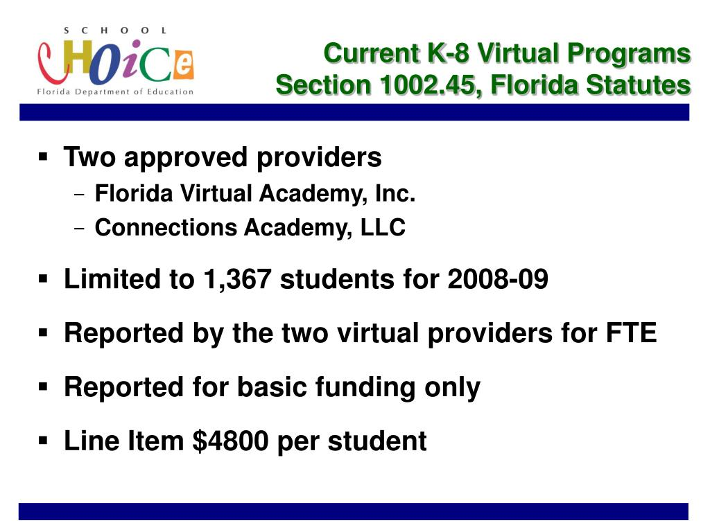 Current K-8 Virtual Programs