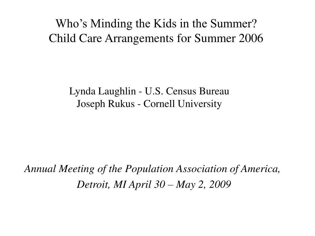 Who's Minding the Kids in the Summer?