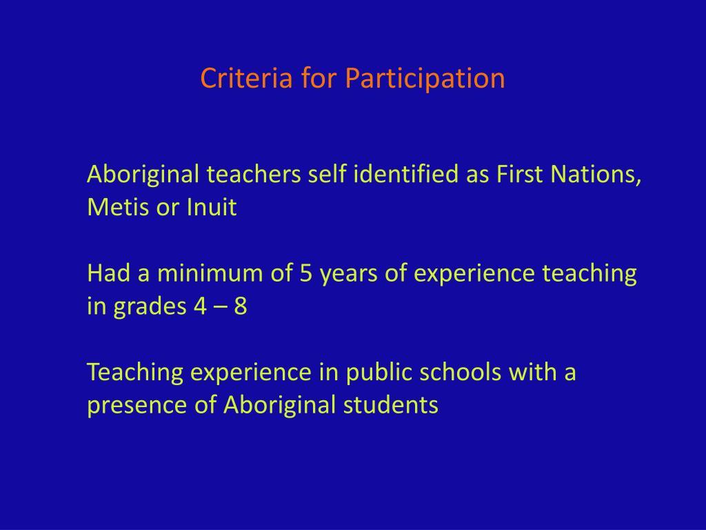 Criteria for Participation