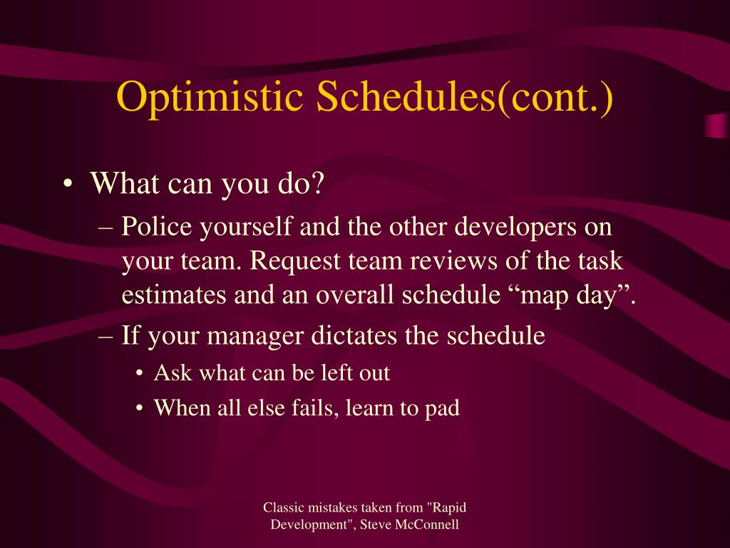 Optimistic Schedules(cont.)