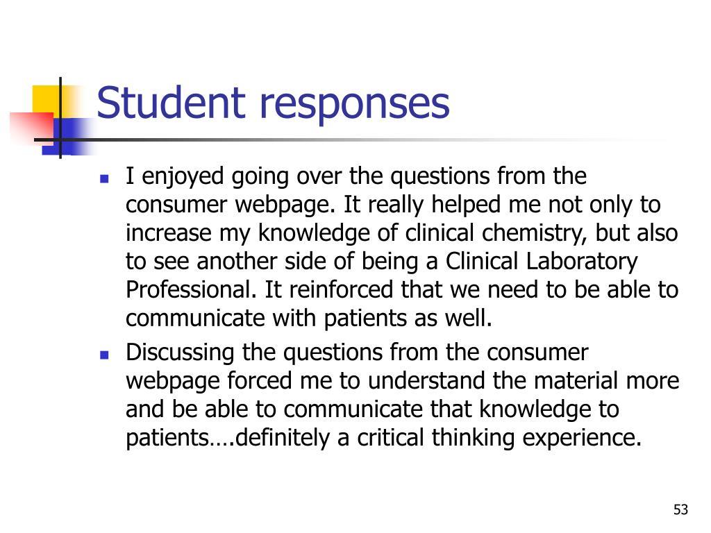 Student responses