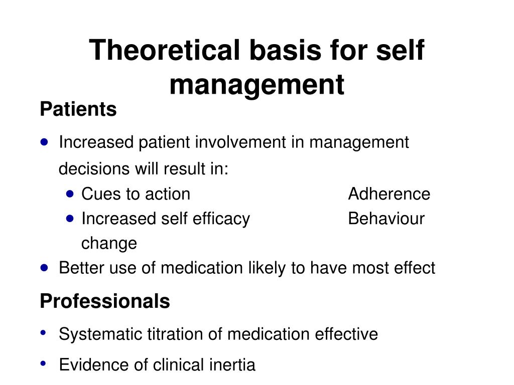 Theoretical basis for self management