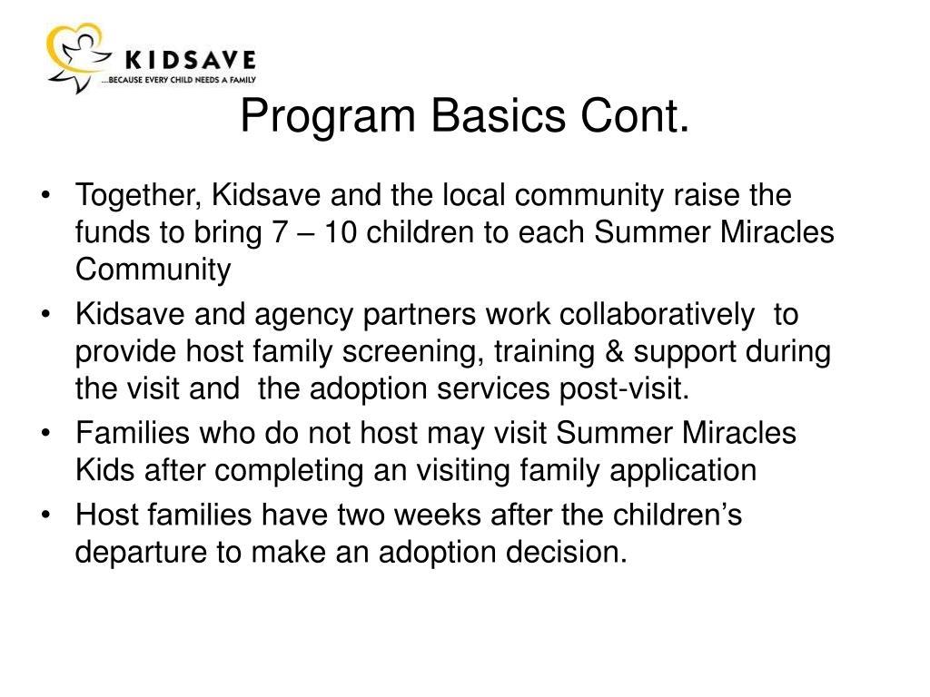 Program Basics Cont.