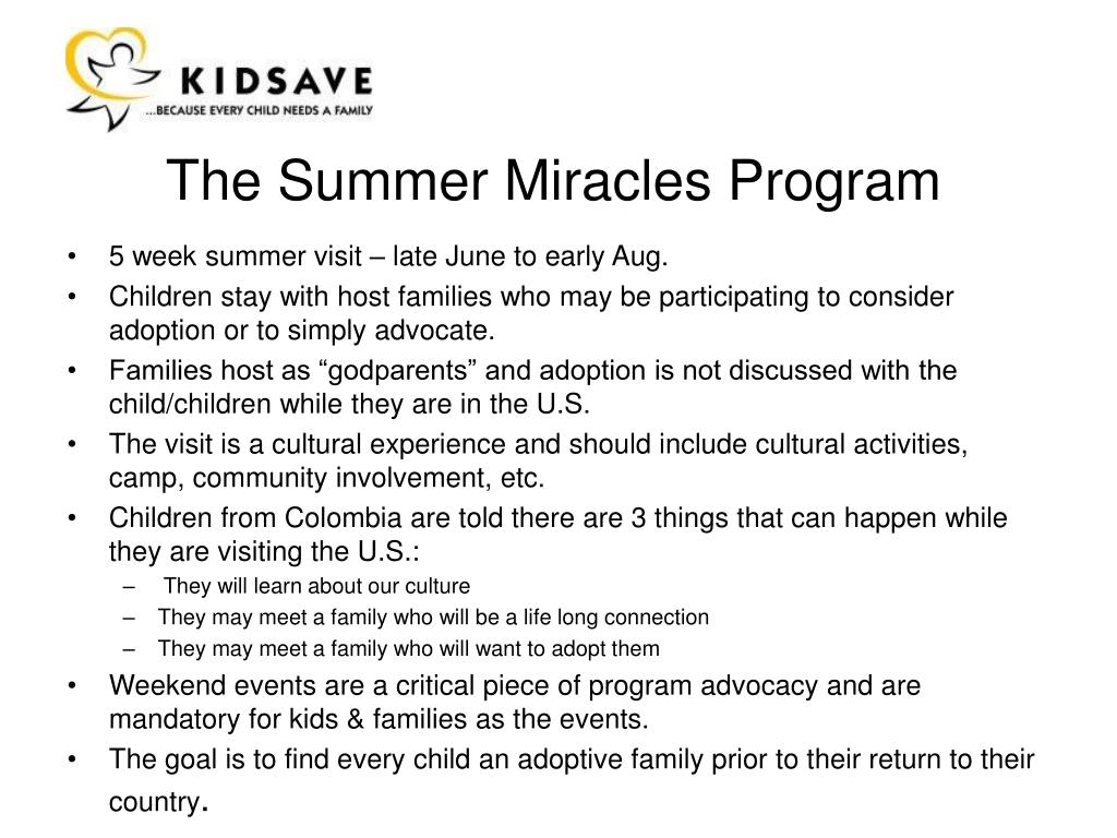 The Summer Miracles Program