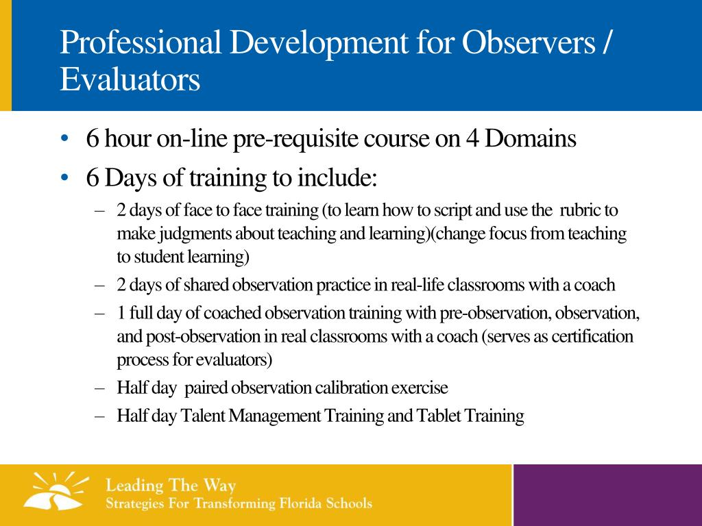 Professional Development for Observers / Evaluators