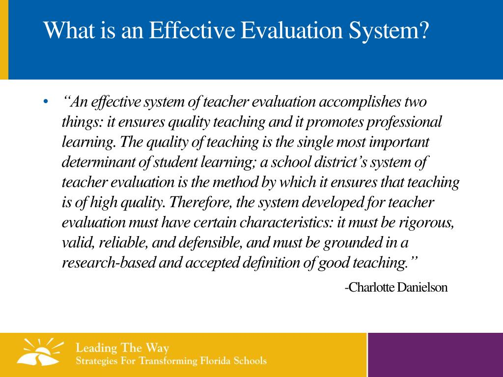 What is an Effective Evaluation System?