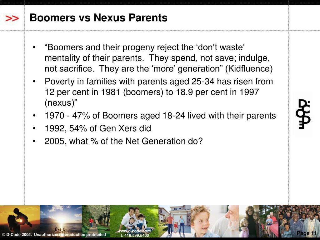 Boomers vs Nexus Parents
