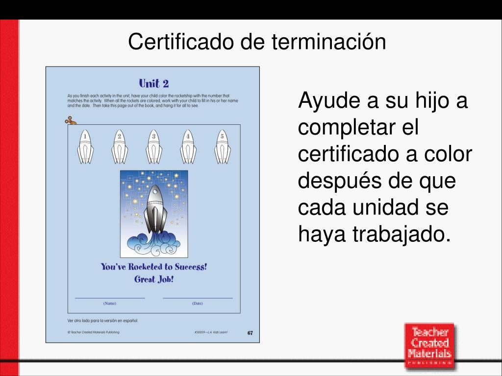Certificado de terminaci