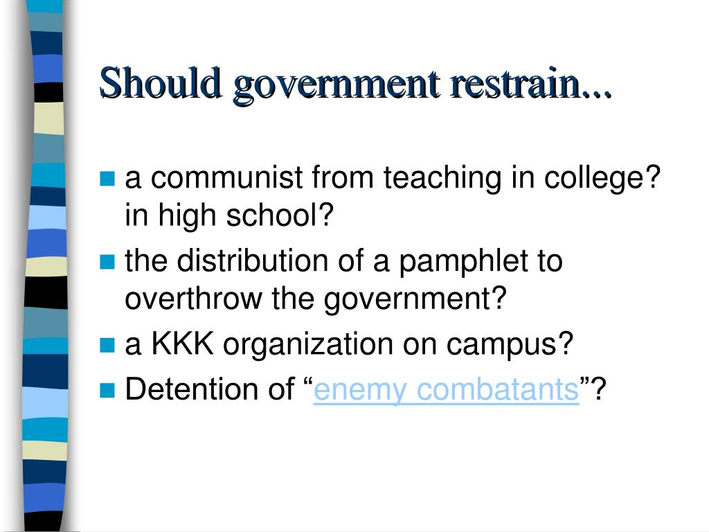 Should government restrain...