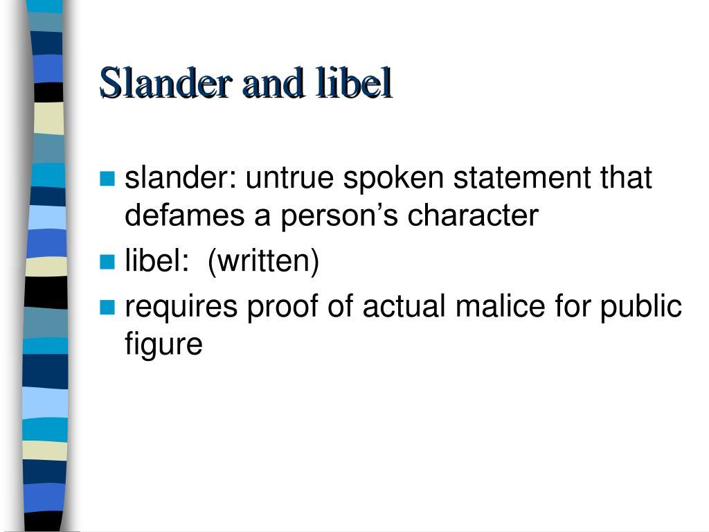 Slander and libel