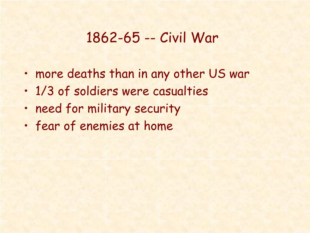 1862-65 -- Civil War