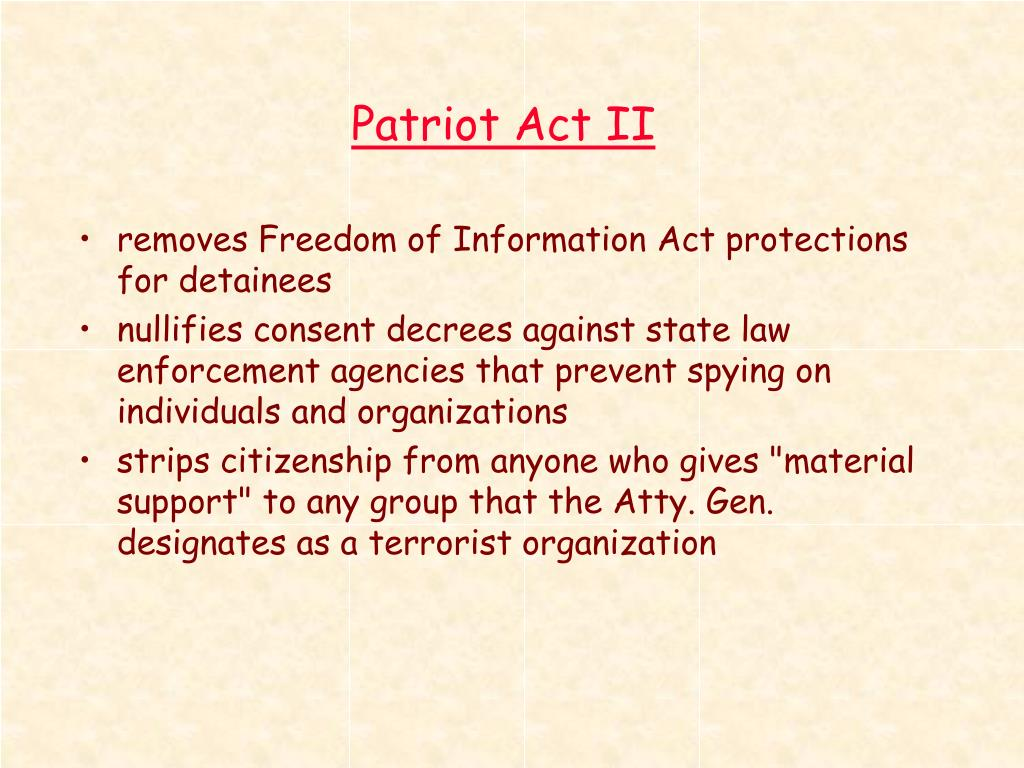 Patriot Act II