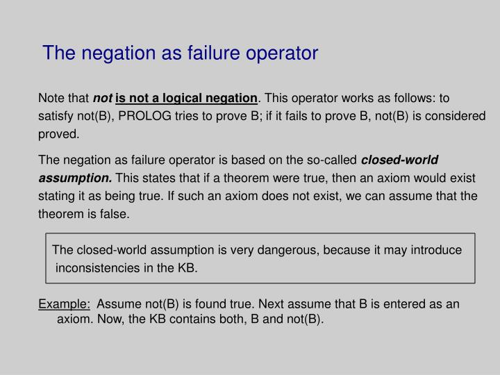 The negation as failure operator