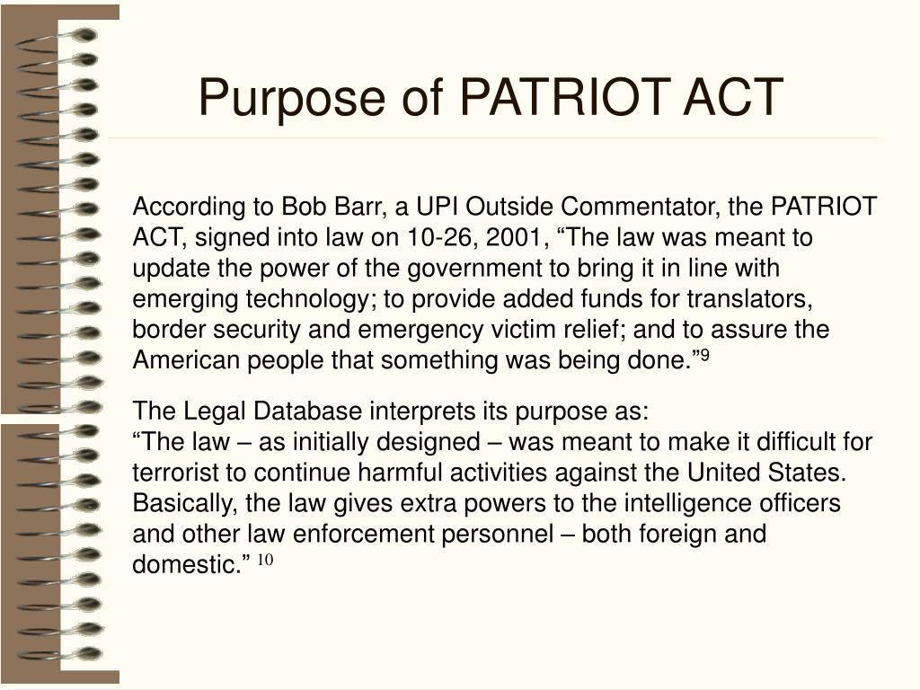Purpose of PATRIOT ACT