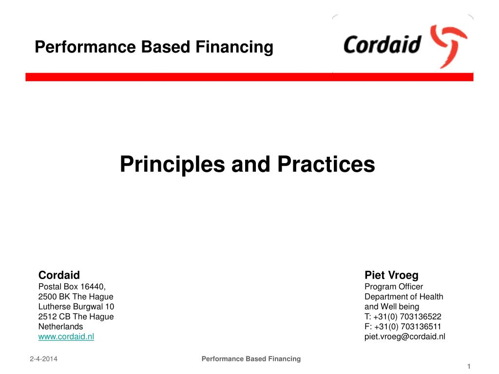 Performance Based Financing