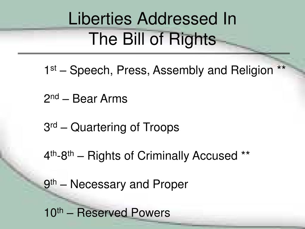 Liberties Addressed In