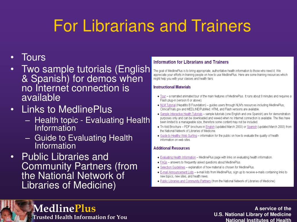 For Librarians and Trainers
