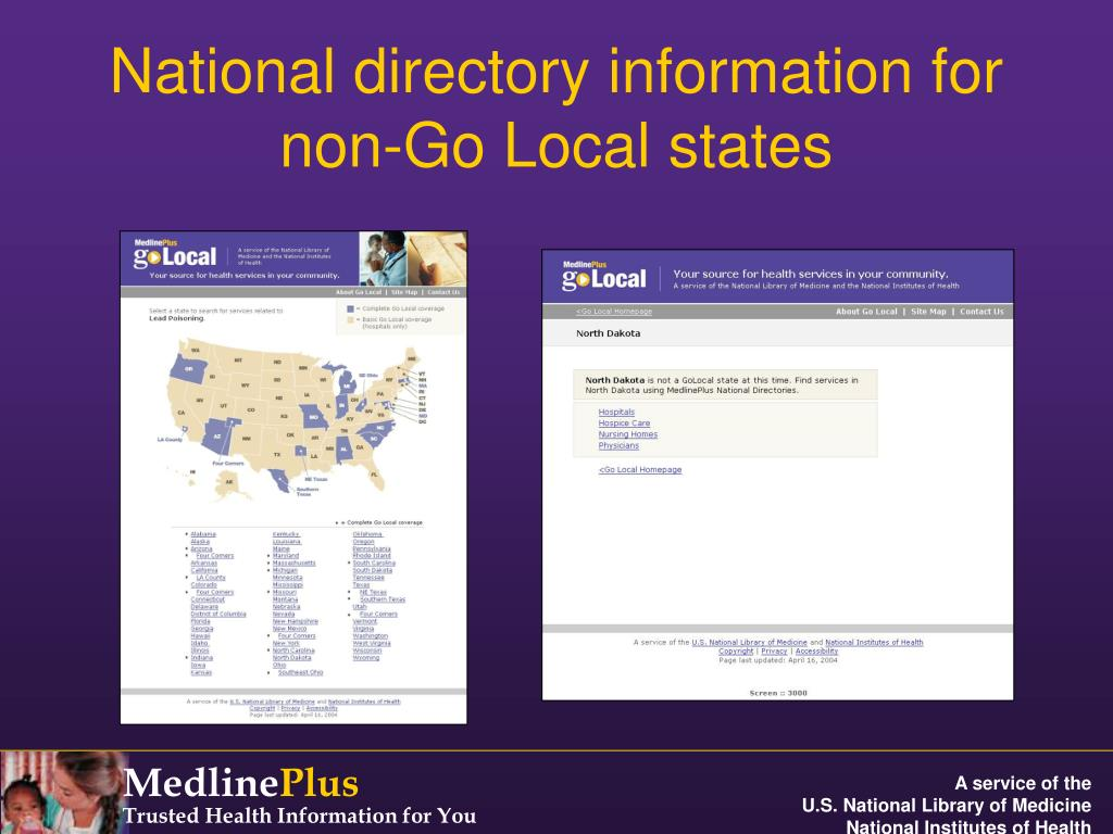 National directory information for non-Go Local states
