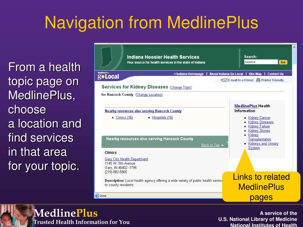 Navigation from MedlinePlus