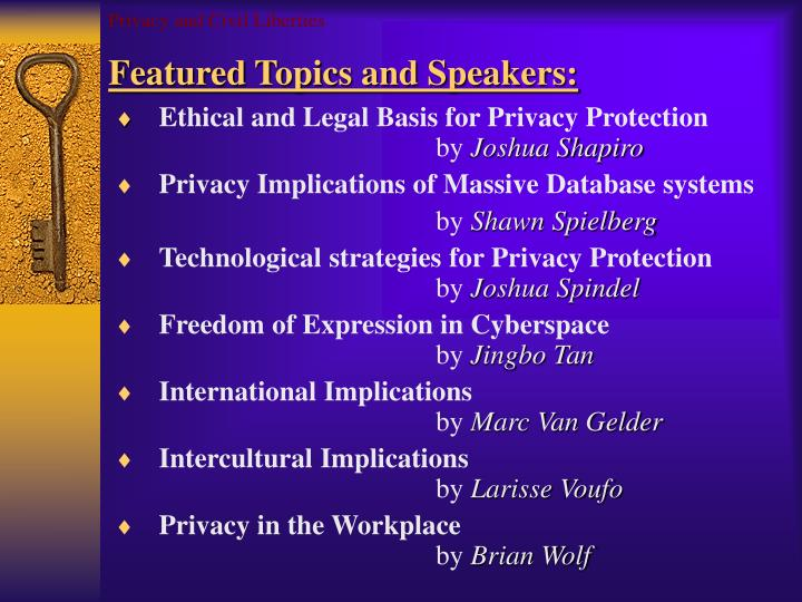 Privacy and civil liberties featured topics and speakers
