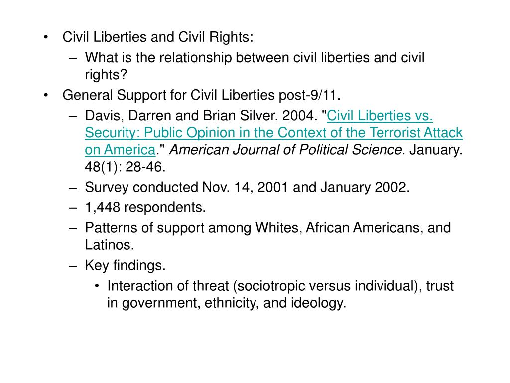 Civil Liberties and Civil Rights: