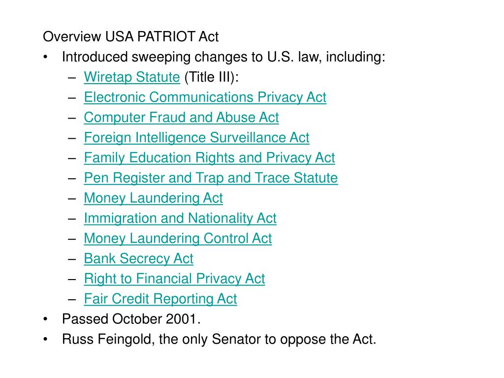 Overview USA PATRIOT Act