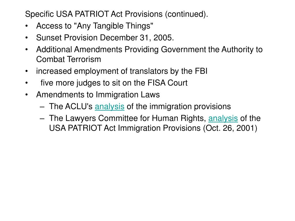 Specific USA PATRIOT Act Provisions (continued).