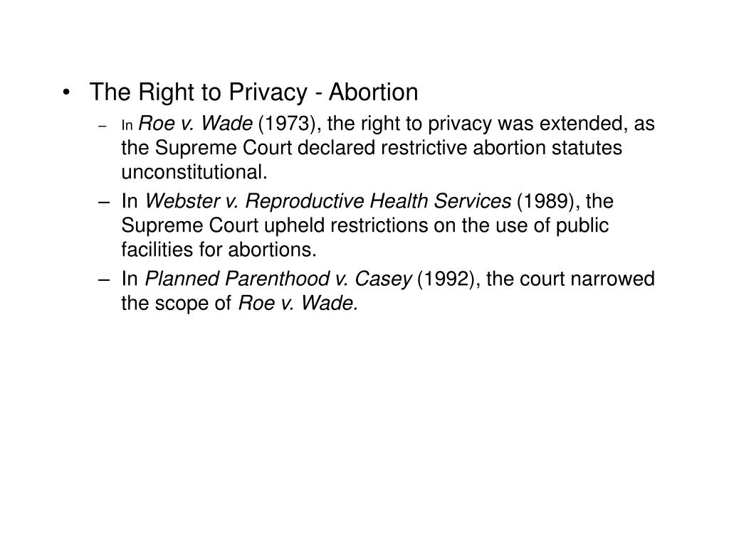 The Right to Privacy - Abortion