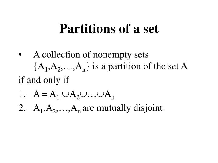 Partitions of a set