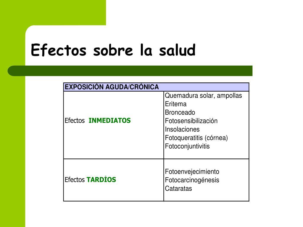 Efectos sobre la salud