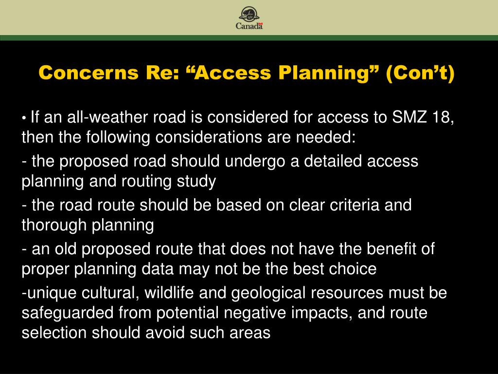 "Concerns Re: ""Access Planning"" (Con't)"