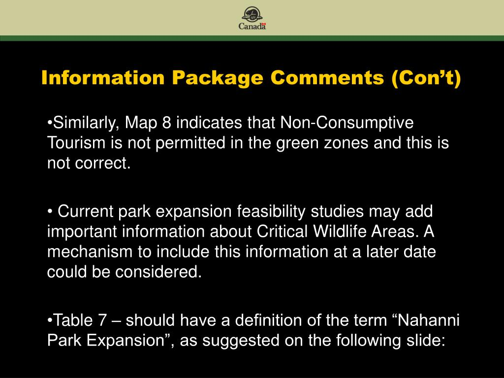 Information Package Comments (Con't)