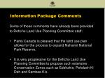 information package comments