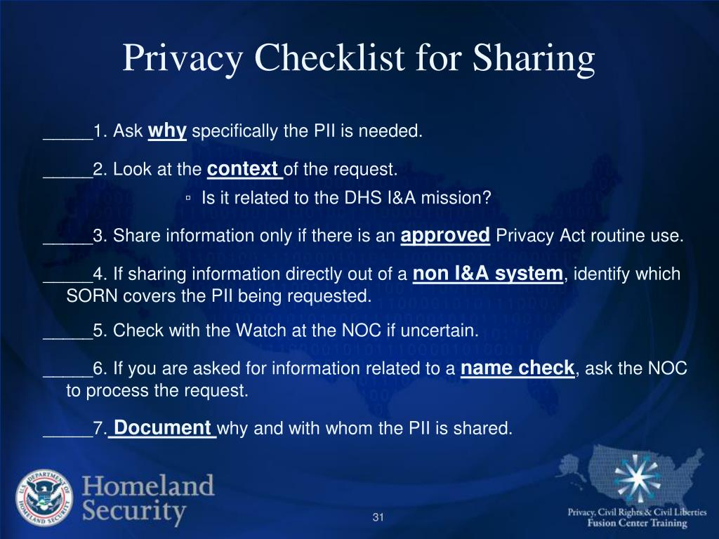 Privacy Checklist for Sharing