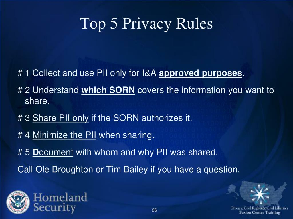 Top 5 Privacy Rules