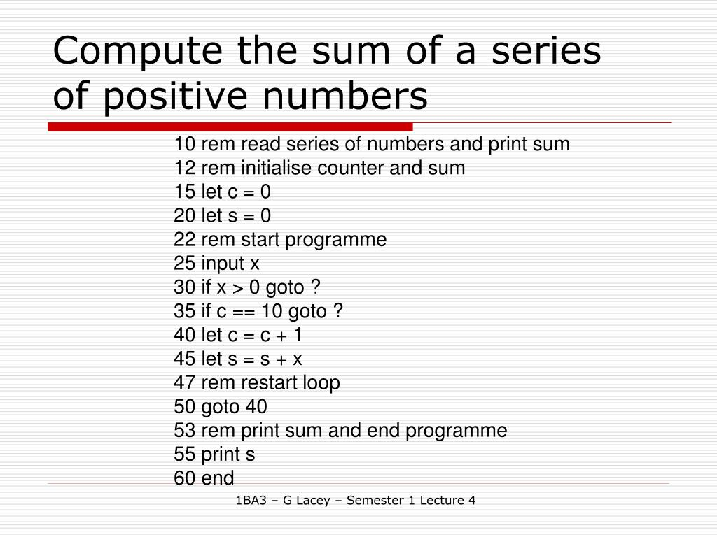 Compute the sum of a series