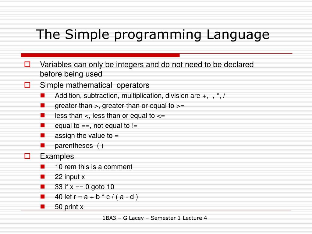The Simple programming Language