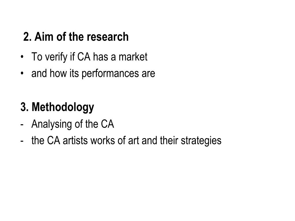2. Aim of the research