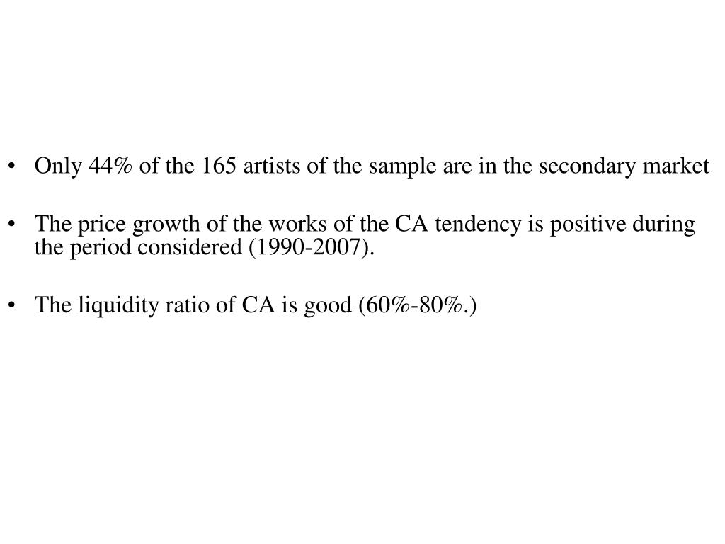 Only 44% of the 165 artists of the sample are in the secondary market