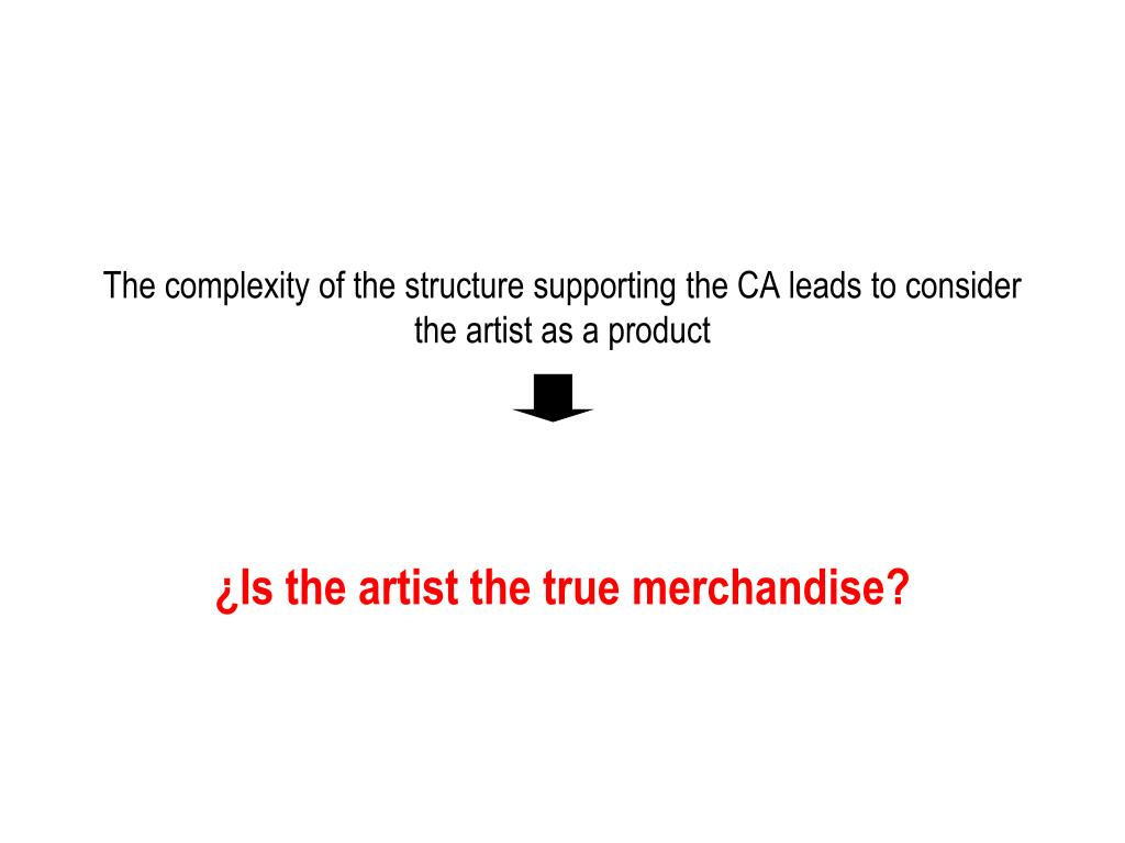 The complexity of the structure supporting the CA leads to consider the artist as a product