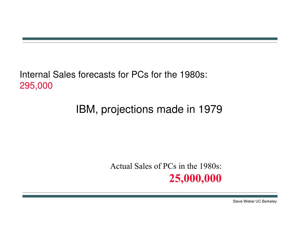 Internal Sales forecasts for PCs for the 1980s: