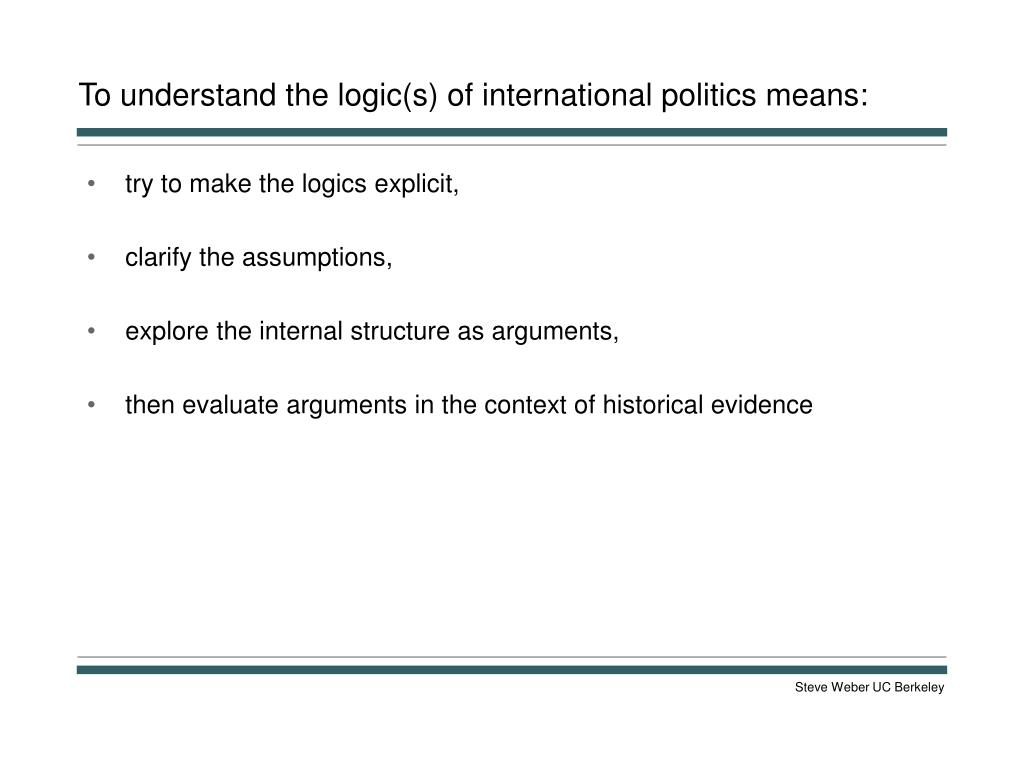 To understand the logic(s) of international politics means: